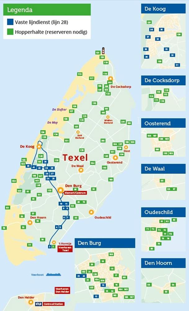 Kaart Texelhopper haltes